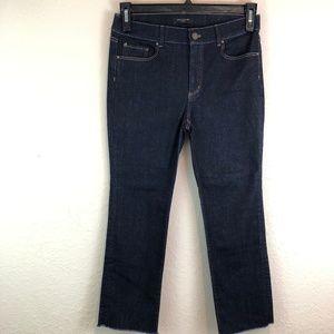 Ann Taylor Capris Jeans 6P Blue Dark Wash Frayed